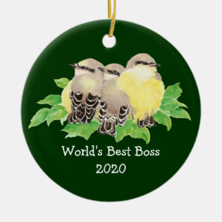 World's Best Boss Custom Dated Western King bird Ornament