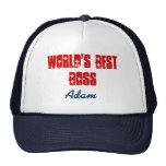 World's Best Boss Custom Name Navy Blue Red Trucker Hat