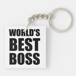 Worlds Best Boss Double-Sided Square Acrylic Keychain