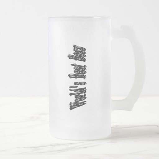 Worlds Best Boss Frosted Glass Beer Mug