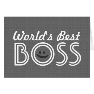World's Best BOSS Funny Smiley Gray Pattern V1A Card