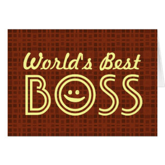 World's Best BOSS Funny Smiley Red Pattern V1B Greeting Card