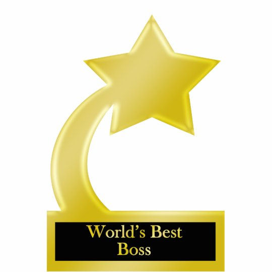 world s best boss gold star award trophy statuette zazzle com