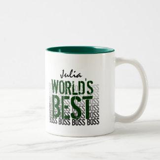 World's Best Boss Grunge Lettering Black Green 005 Two-Tone Coffee Mug