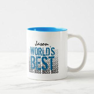 World's Best Boss Grunge Lettering Blue 011 Two-Tone Coffee Mug