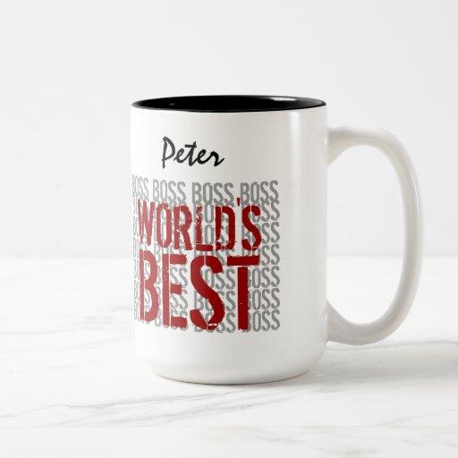 World's Best Boss Grunge Lettering Custom Name B22 Coffee Mugs