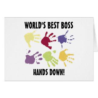 World's best Boss Hands Down Office Card