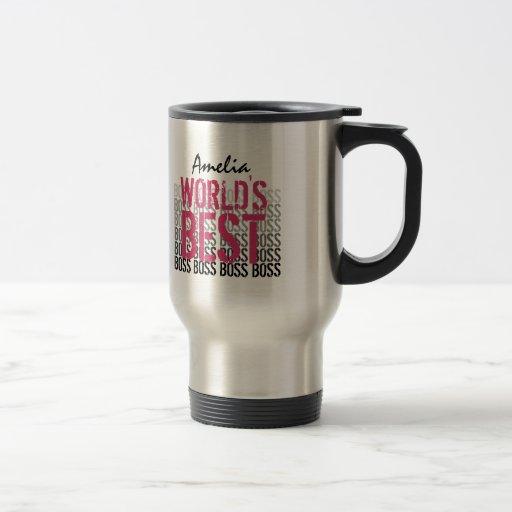 World's Best Boss Pink Black Grunge Lettering G451 Mug