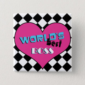 World's Best Boss - Pink Heart Button