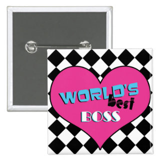 World's Best Boss - Pink Heart 2 Inch Square Button
