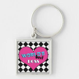 World's Best Boss - Pink Heart Keychain