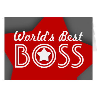 World's Best BOSS Red White Gray with Stars V1C4 Greeting Card