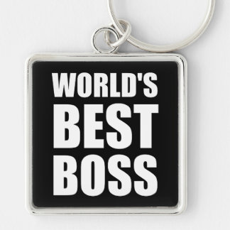 Worlds Best Boss Silver-Colored Square Keychain