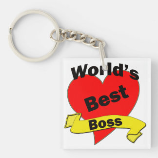 World's Best Boss Single-Sided Square Acrylic Keychain