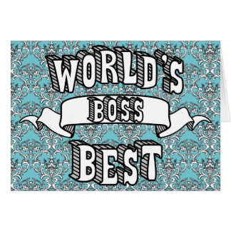 World's Best Boss Typography Text Floral Card