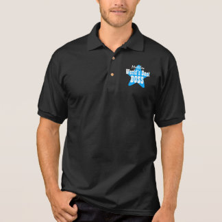 World's Best BOSS with Star V04 BLACK Polo T-shirt