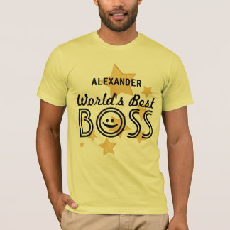 World's Best BOSS with Stars  and Custom Name V01A T-Shirt