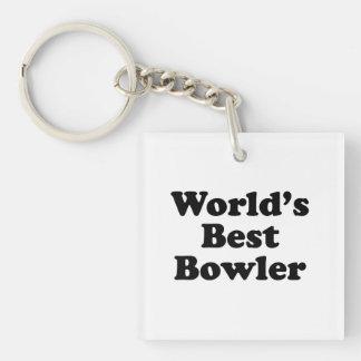 World's Best Bowler Single-Sided Square Acrylic Keychain
