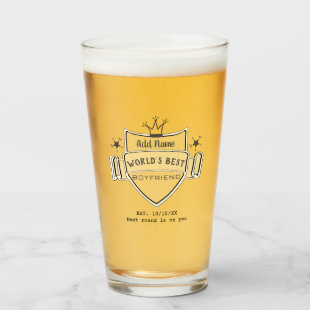 World's Best BOYFRIEND Customized Beer PINT GLASS