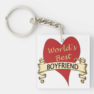 World's Best Boyfriend Single-Sided Square Acrylic Keychain