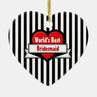 World's Best BRIDESMAID Red Heart Ribbon 11 Ceramic Ornament