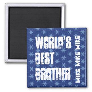World's Best BROTHER Custom Name Blue Stars Magnet