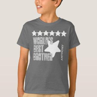 World's Best Brother Custom Name Stars V04 GRAY T-Shirt