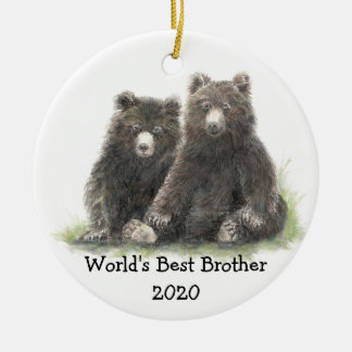 World's Best Brother with Cute Black Bear Family Ceramic Ornament