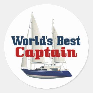 Worlds Best Captain Classic Round Sticker