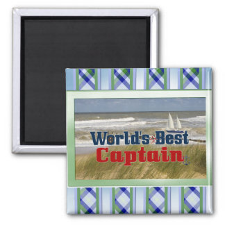 Worlds Best  Captain 2 Inch Square Magnet