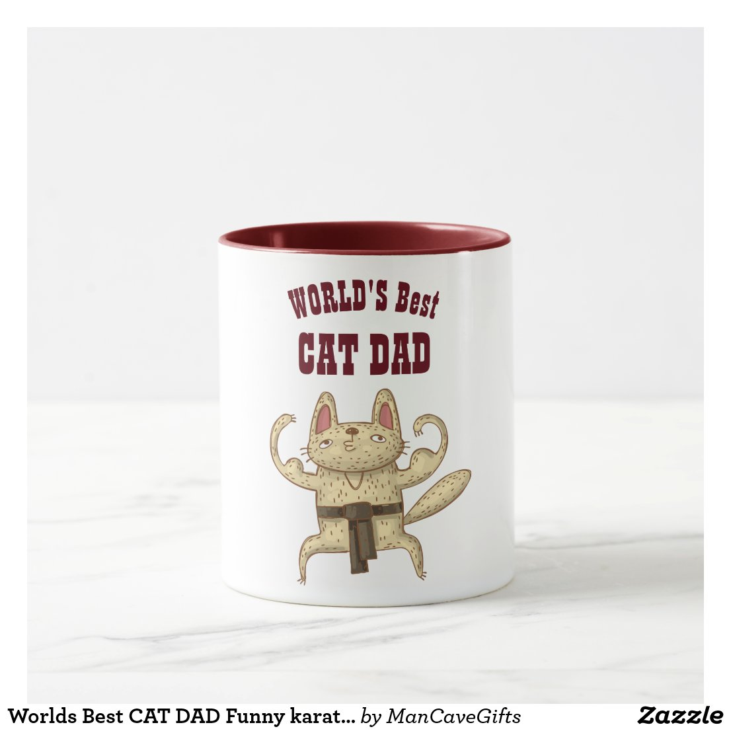 Worlds Best CAT DAD Funny karate Judo Cartoon Cat Mug