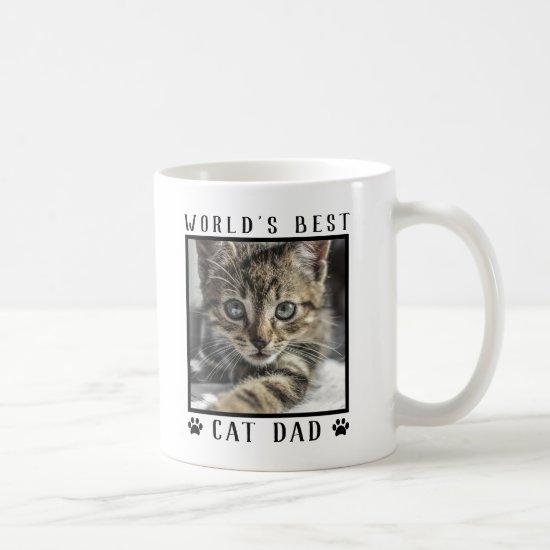 World's Best Cat Dad Paw Prints Pet Photo Frame Coffee Mug