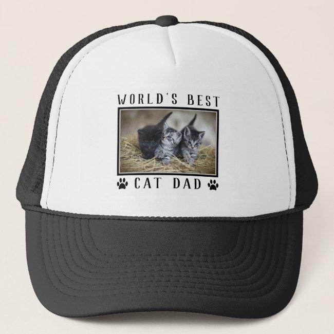 World's Best Cat Dad Paw Prints Pet Photo Trucker Hat