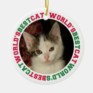 World's best cat green red paw pet custom photo Double-Sided ceramic round christmas ornament