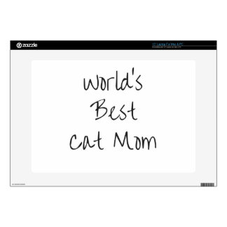 """World's Best Cat Mom - Black Decal For 15"""" Laptop"""