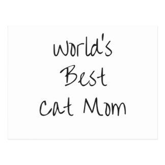 World's Best Cat Mom - Black Postcard
