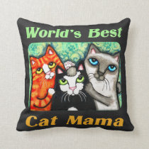 World's Best Cat Mom Chalkboard Kitty Pillow