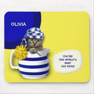 World's Best  Cat Mom. Custom Name Gift Mousepads