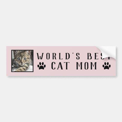 Worlds Best Cat Mom Paw Prints Pet Photo Pink Bumper Sticker