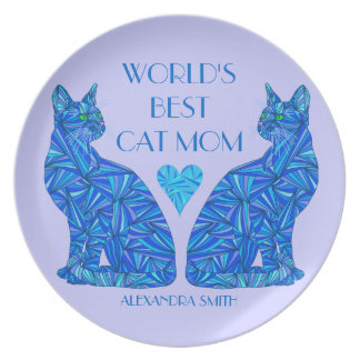 World's Best Cat Mom Personalized Blue Cat Plate