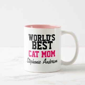 World's Best Cat Mom Personalized Name Mugs