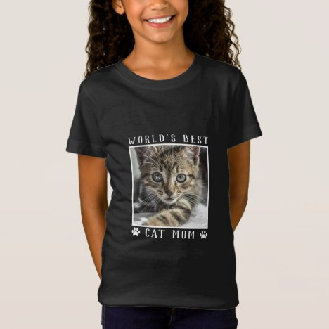 World's Best Cat Mom Pet Photo Paw Prints T-Shirt