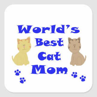 World's Best Cat Mom Square Sticker