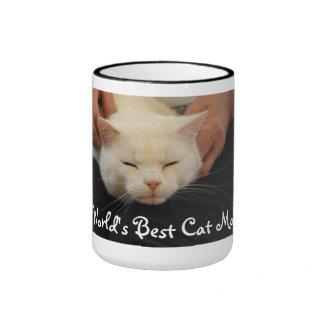 World's Best Cat Mom - White Cat Ringer Coffee Mug