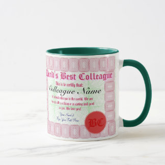 World's Best Colleague Certificate Award Mug
