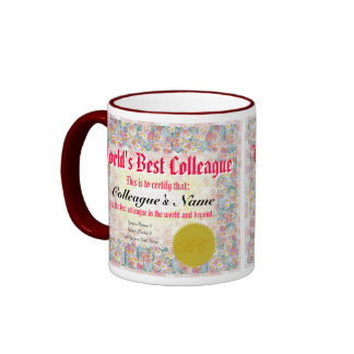 World's Best Colleague Certificate Ringer Coffee Mug