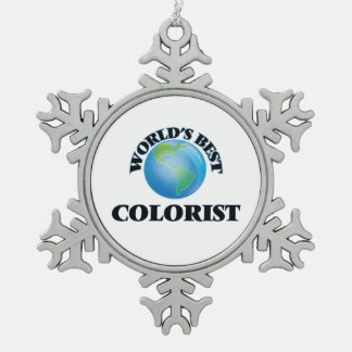 World's Best Colorist Snowflake Pewter Christmas Ornament