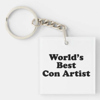 World's Best Con Artist Square Acrylic Key Chains