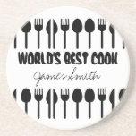 World's Best Cook Custom Name Black Sandstone Coaster