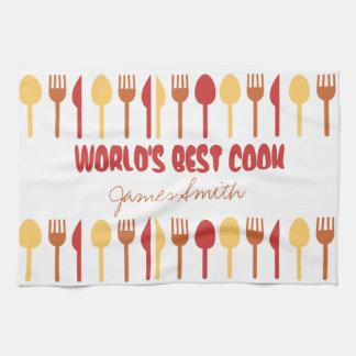 World's Best Cook Custom Name Red Orange Kitchen Towel